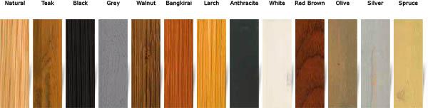 woca exterior oil - barvna paleta